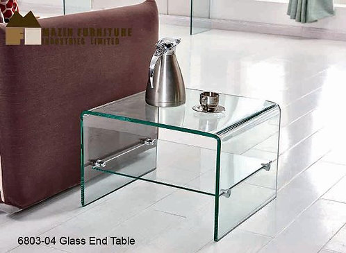 Gambol Collection Tempered Bent Glass End Table w/ Shelf