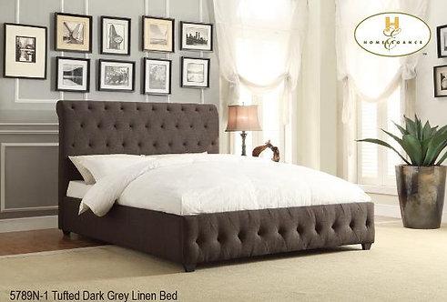 Baldwin Collection - Dark Grey Linen Bed