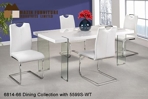 Jodi Collection White Glossy Top/Glass Leg Dining Table