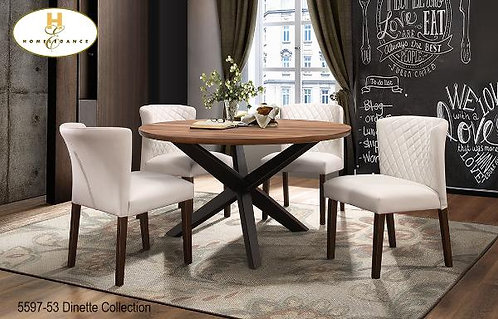 Contemporary Dinette Collection Walnut Round Table