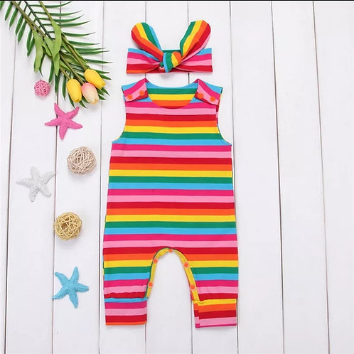 Rainbow 🌈 Striped Sleeveless Romper+Headband