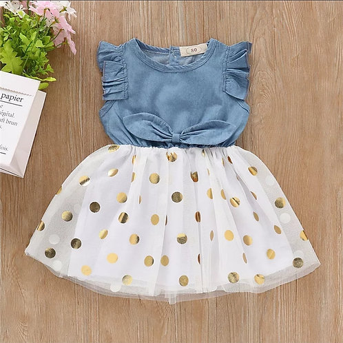 Denim and Tulle Polka Dot Summer Dress🌞