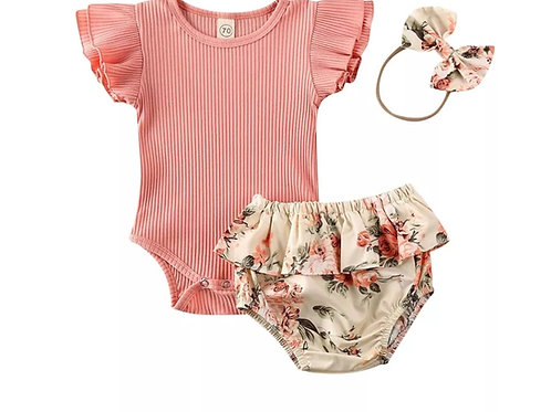 Ruffled Body Suit w/Floral Bloomers and Headband