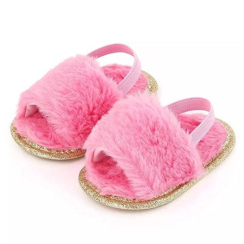 Pink Faux Fur Slides