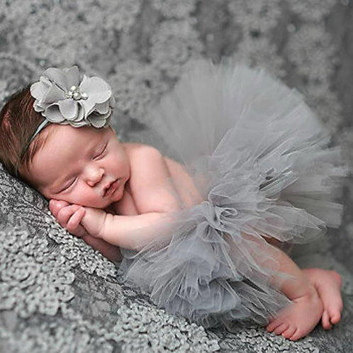 Gray Tutu🐘Headband Photo Prop
