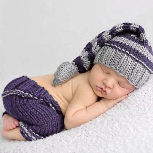 Crochet Knit Blue/Gray Photo Prop