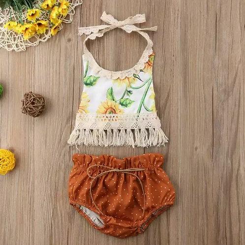2 Piece Sunflower Tassel Top+Bloomers🌻