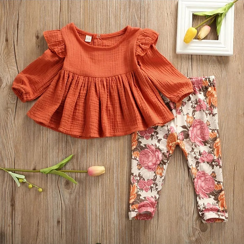 2PC Long Sleeve Floral Set