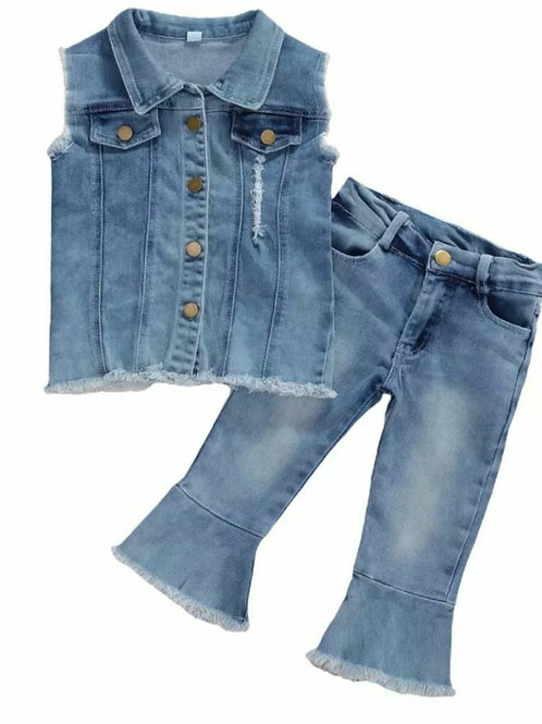 Denim Vest and Pants Set