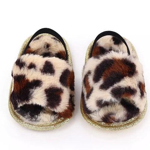Leopard Faux Fur Slides