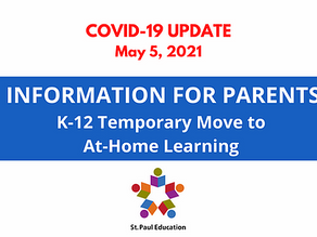 Information For Parents Regarding Shift to At-Home Learning