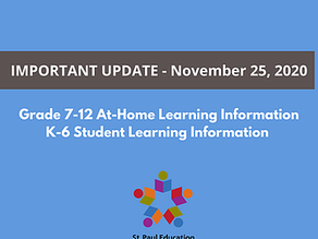 Update on Grade 7-12 At-Home Learning and K-6 Student Learning