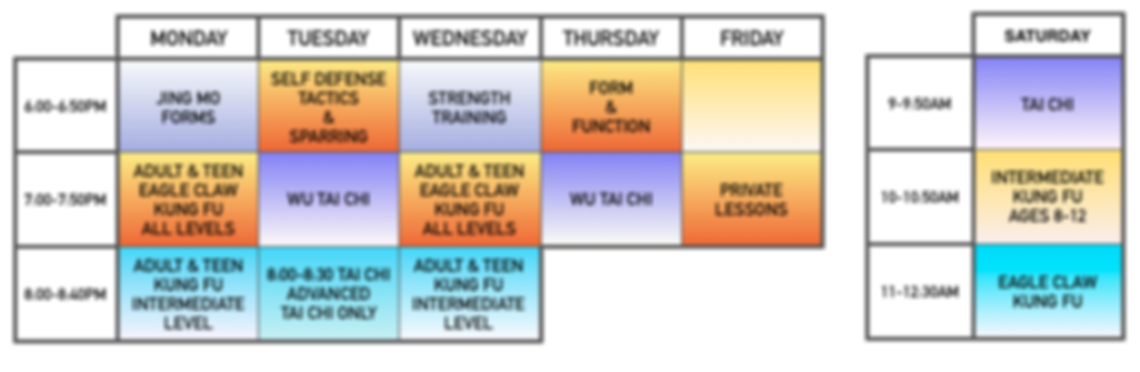 adult kung fu schedule, classes offered monday through thursday in kung fu and tai ci, call for details