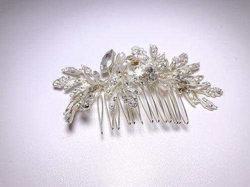 Silver Flower Hair comb
