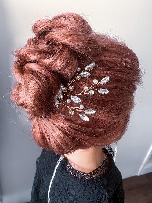 "Chrystal & Gold ""Leafy Vine"" Pin"
