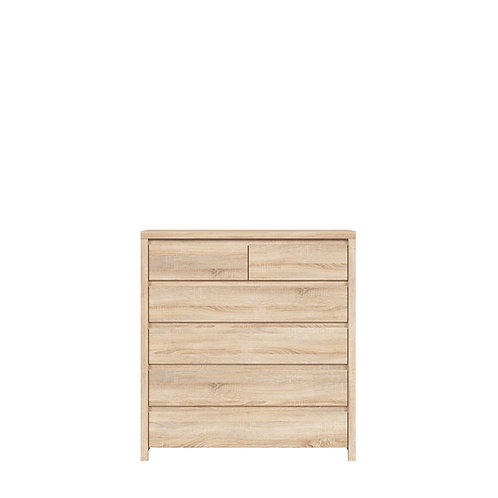 Light wood dresser with 6 drawers
