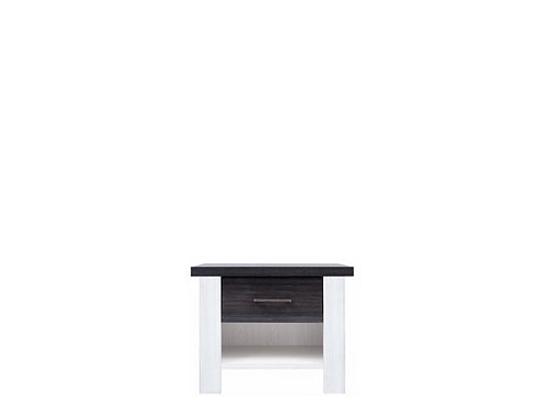 White wood and dark grey wood one drawer night stand with shelf