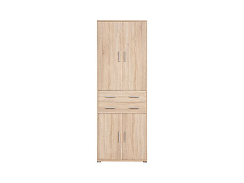 Modern light oak bookcase with doors and drawers