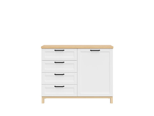 White and light oak cabinet with door and drawers