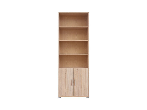 Light sonoma oak tall bookcase with doors