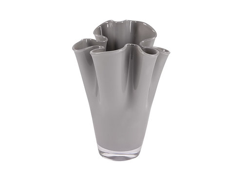 Modern gloss grey glass tapered table vase