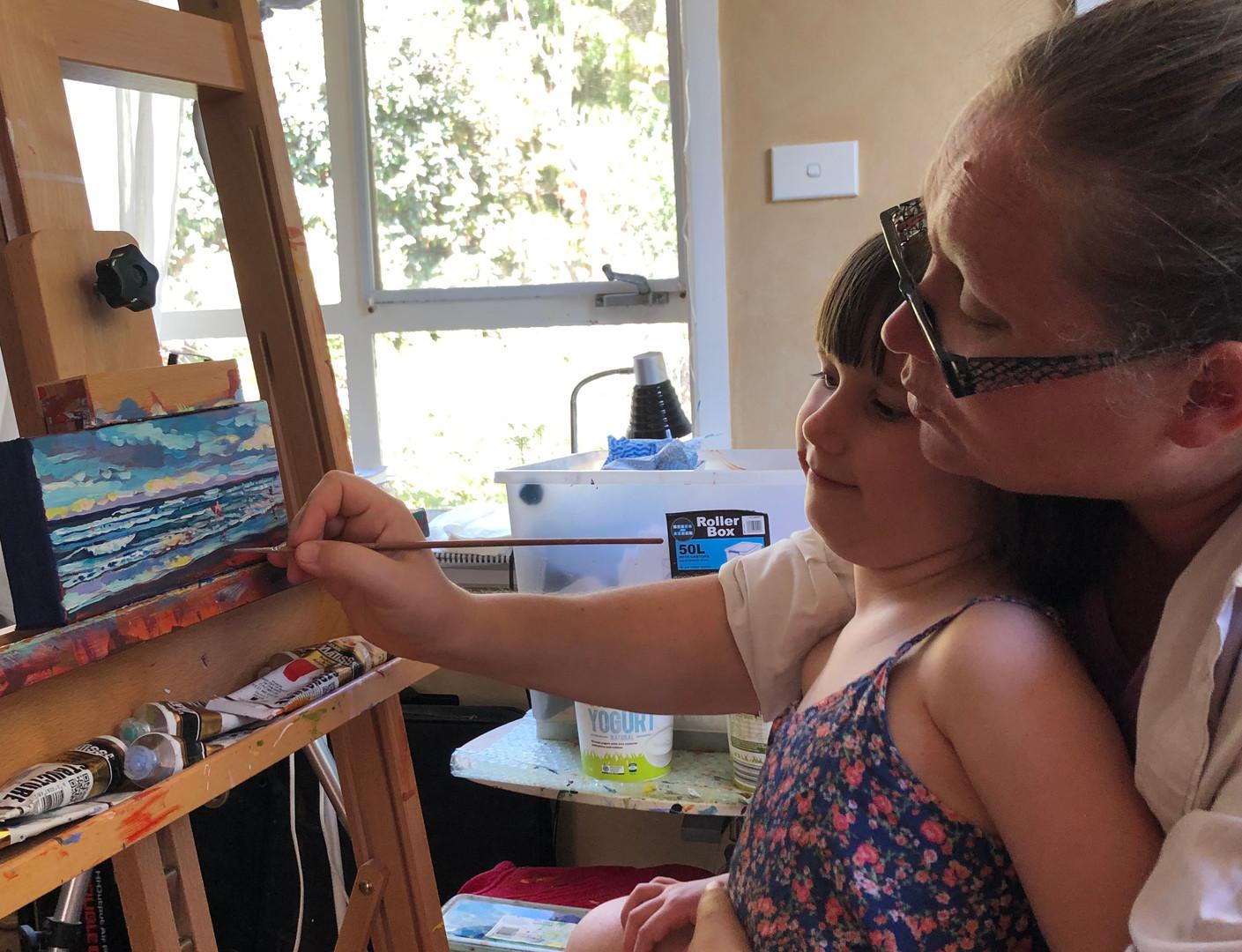 Valentyna Crane and her youngest studio elf.