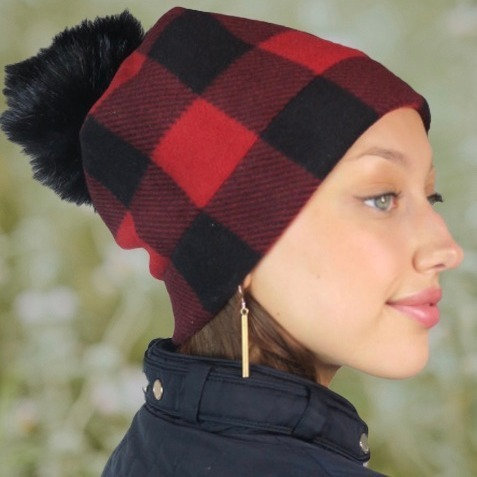 Buffalo Plaid PomPom Hat