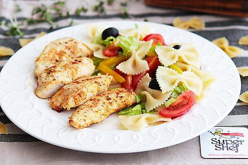 Куриная грудка в лёгком кляре со свежим салатом