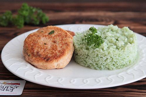 Рыбные котлетки с зелёным рисом