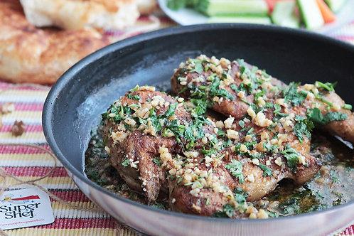 Цыпленок Чкмерули в чесночно-ореховом соусе с овощами