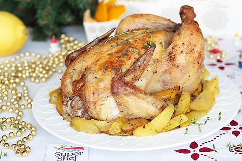 Новогодняя Курица с тимьяном и лимоном, с запеченным картофелем