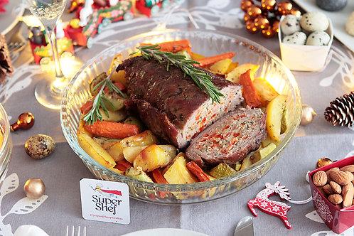 Мясной рулет с запеченными овощами