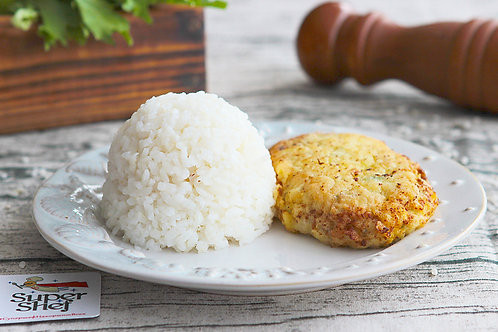Рыбный шницель с рисом