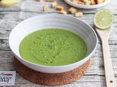 Суп-крем из зеленого горошка с имбирными сухариками
