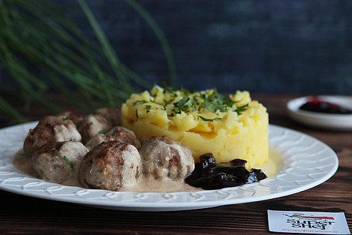 Шведские фрикадельки с мятым картофелем