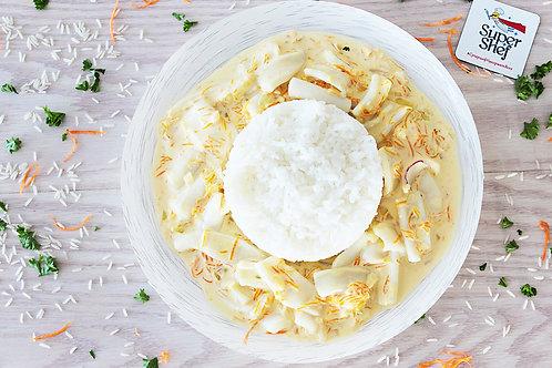 Кальмар в сливочно-сырном соусе с рисом