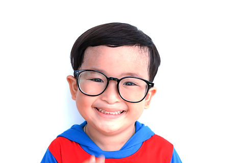 Little Asian boy Wear glasses  smiling p