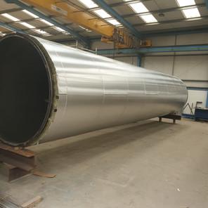 Mineralwool insulation & Aluminium cladding to chimney