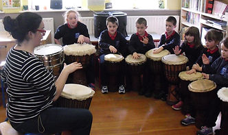 SambaStef drumming workshops for school, African drum workshop djembe junior infant activity