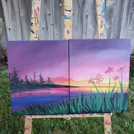 Spring Sunset (Diptych)