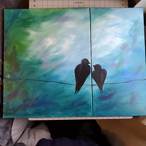 Birds on a Wire (diptych)