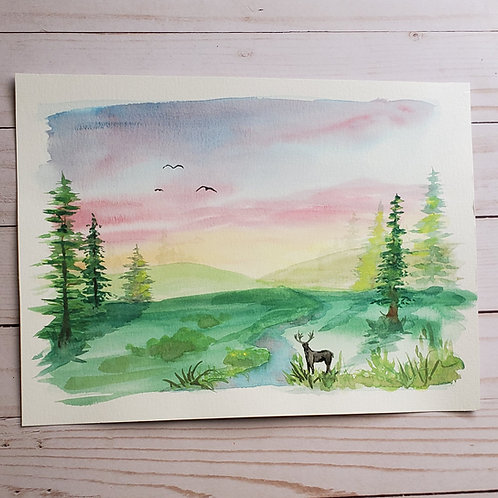"""""""Day's End"""" Watercolor painting"""