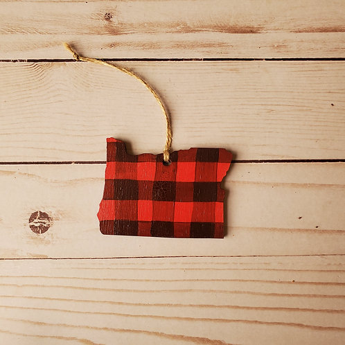 Red Plaid Oregon Ornament