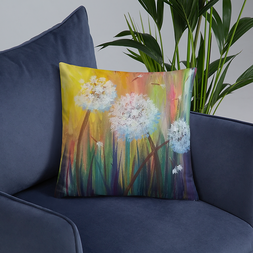 """Dandelion Breeze"" Throw Pillow Case (18x18"")"