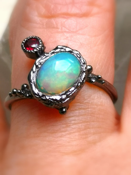 Rare of VESSEL of love ,beauty success & abundance fire opal and garnet