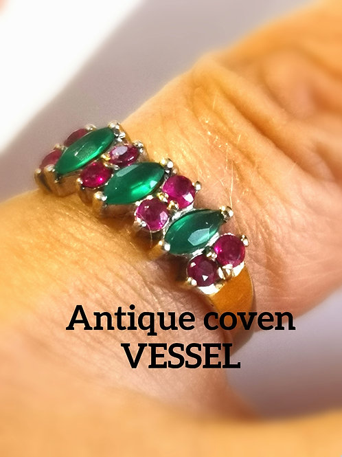 Rare antique spirit guide ring. realrubies & emerald 14ct solid gold