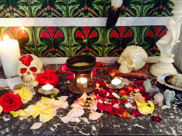 Strawberry full moon Altar