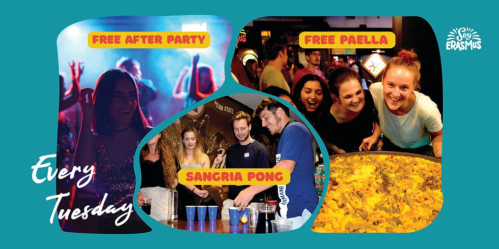 Free Paella, SangriaPong and Afterparty