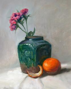 Green Ginger Vase w Orange
