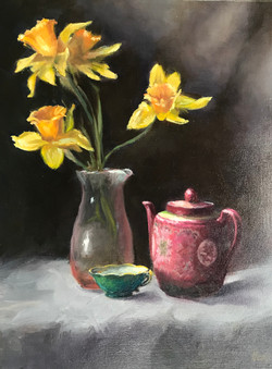 Daffodils with chinese tea pot, 12 x 16